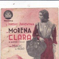 Cine: MORENA CLARA CON IMPERIO ARGENTINA Y MIGUEL LIGERO AÑO 1939 CINEMA DORÉ. Lote 110701743