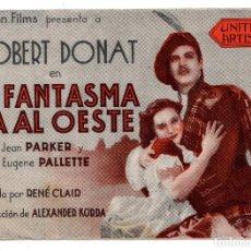 Cine: EL FANTASMA VA AL OESTE. DOBLE - JEAN PARKER - EUGENE PALLETTE- DIRIGIDA POR RENÉ CLAIR. Lote 110709803