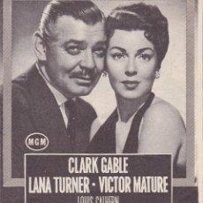 Cine: BRUMAS DE TRAICIÓN CLARK GABLE LANA TURNER VICTOR MATURE 1955. Lote 110911503