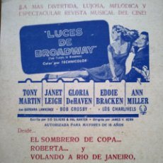 Cine - LUCES DE BROADWAY. FOLLETO DE MANO. - 110994334