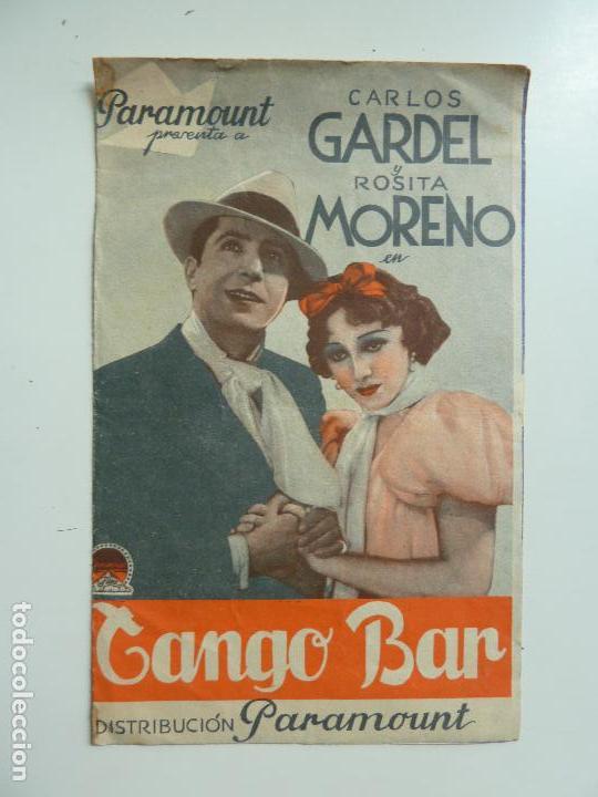 TANGO BAR. CARLOS GARDEL. ROSITA MORENO. DOBLE CON SELLO CINE (Cine - Folletos de Mano - Musicales)