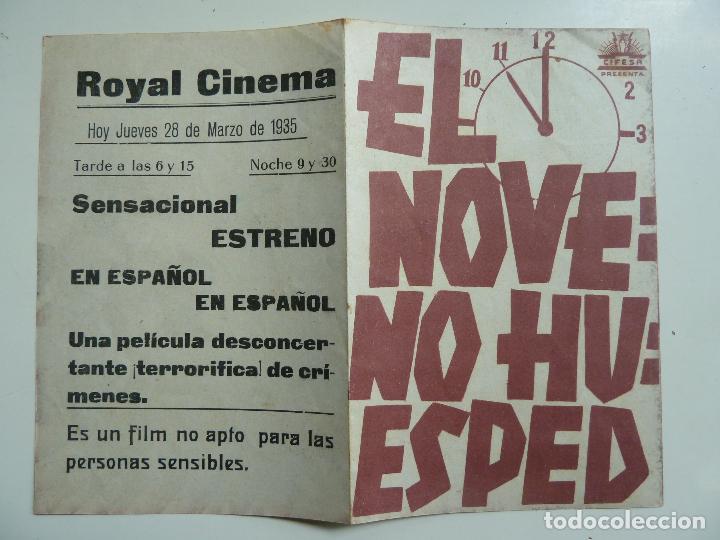 EL NOVENO HUESPED. DOBLE CON PUBLICIDAD. AÑO 1935 (Cine - Folletos de Mano - Terror)