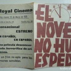 Cine: EL NOVENO HUESPED. DOBLE CON PUBLICIDAD. AÑO 1935. Lote 111222431