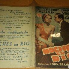 Cine: PROGRAMA DE CINE DOBLE CON PUBLICIDAD NOCHES EN RIO. Lote 111585400