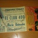 Cine: PROGRAMA DE CINE DOBLE CON PUBLICIDAD EL CLUB 400. Lote 111580259