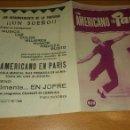 Cine: PROGRAMA DE CINE DOBLE CON PUBLICIDAD UN AMERICANO EN PARIS. Lote 111581367