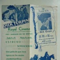 Cine: DÍCK TURPÍN. VÍCTOR MCLAGLEN. DOBLE CON PUBLICIDAD. AÑO 1934. Lote 111618259
