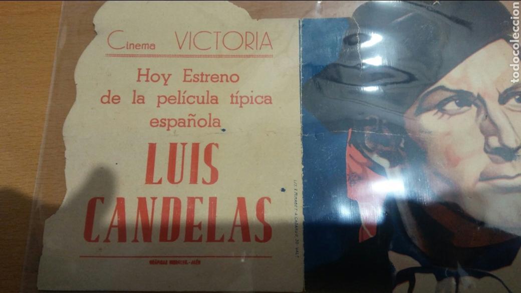 PROGRAMA DE CINE TROQUELADO LUIS CANDELAS CON PUBLICIDAD CINE VITORIA JAEN (Cine - Folletos de Mano - Clásico Español)