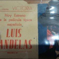 Cine: PROGRAMA DE CINE TROQUELADO LUIS CANDELAS CON PUBLICIDAD CINE VITORIA JAEN. Lote 86995551