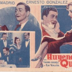 Cine: HUYENDO DE LA QUEMA. PROGRAMA CINE CARTULINA. VIRGINIA CHERRILL. AÑOS 30. MADRID. ERNESTO GONZALEZ. Lote 111864099