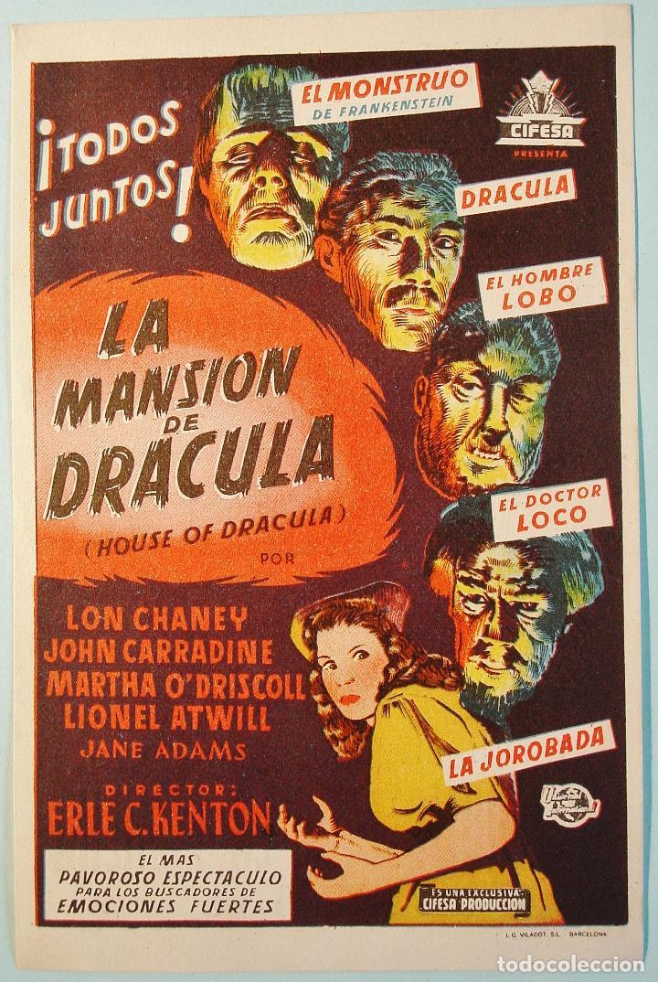 LA MANSION DE DRACULA. CHANEY, CARRADINE, .. DORSO PUBLICIDAD. BUEN ESTADO. (Cine - Folletos de Mano - Terror)