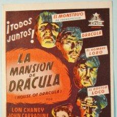 Cine: LA MANSION DE DRACULA. CHANEY, CARRADINE, .. DORSO PUBLICIDAD. BUEN ESTADO.. Lote 111869667