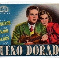 Foglietti di film di film antichi di cinema: PROGRAMA DE CINE DOBLE. SUEÑO DORADO. Lote 111910239
