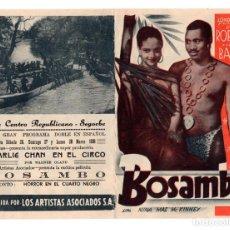 Cine: BOSAMBO, DOBLE 1938, PAUL ROBESON LESLIE BANKS, CON PUBLICIDAD. Lote 111931687