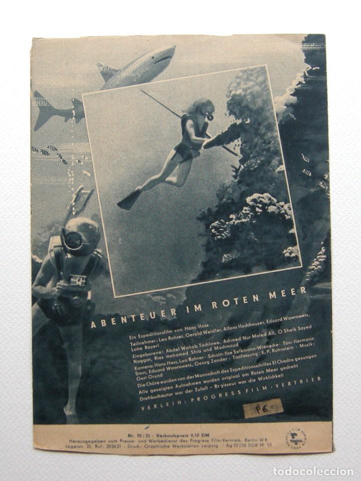 Cine: Programa original Alemania del Este / 1955 / Abenteur im Roten Meer / Hans Hass / Lotte Hass - Foto 3 - 111965971