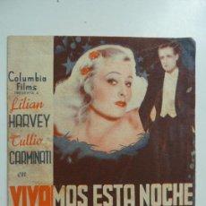 Cine: VIVAMOS ESTA NOCHE. DOBLE CON PUBLICIDAD. AÑO 1936. Lote 276022813