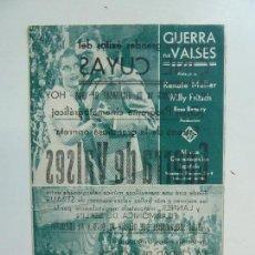 Cine: GUERRA DE VALSES. RENATE MULLER. SENCILLO CON PUBLICIDAD. AÑO 1934. Lote 112005523