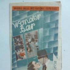 Cine: WONDER BAR. DOBLE CON PUBLICIDAD. AÑO 1935. Lote 112005959