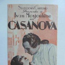 Cine: CASANOVA. IVAN MOSJOUKINE. DOBLE CON PUBLICIDAD. AÑO 1935. Lote 112011303