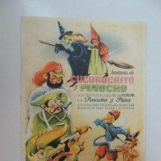 Cine: AVENTURAS DE CUCURUCHITO Y PINOCHO - FOLLETO MANO ORIGINAL - ANIMACION IMPRESO SIN DISTRIBUIDORA . Lote 112037447