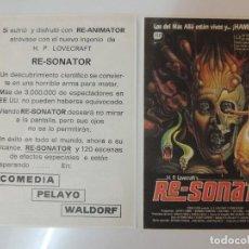 Folhetos de mão de filmes antigos de cinema: RE-SONATOR FROM BEYOND - FOLLETO MANO ORIGINAL - STUART GORDON IMPRESO CINE COMEDIA PELAYO WALDORF. Lote 114646475