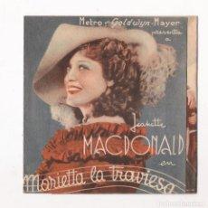 Cine: PROGRAMA DOBLE *MARIETTA LA TRAVIESA* 1935 JEANETTE MACDONALD NELSON EDDY.. Lote 112132651