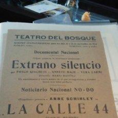 Cine: PROGRAMA CINE EXTRAÑO SILENCIO TEATRO DEL BOSQUE. Lote 112142488