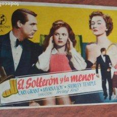 Foglietti di film di film antichi di cinema: EL SOLTERON Y LA MENOR. CARY GRANT, SHIRLEY TEMPLE,MYRNA LOY. Lote 112413155