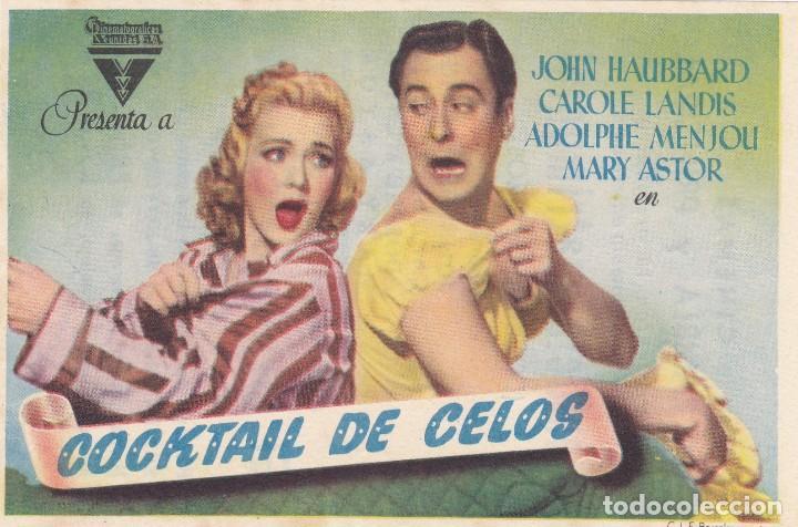 COCKTAIL DE CELOS CON JOHN HAUBBARD, CAROLE LANDIS, ADOLPHIE MENJOLI, MARY ASTOR AÑO 1948 (Cine - Folletos de Mano - Comedia)