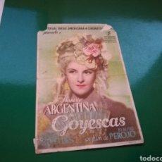 Cine: PROGRAMA DE CINE. GOYESCAS, POR IMPERIO ARGENTINA. Lote 112660271