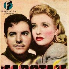 Cine: SABOTAJE- ALFRERD HITCHCOCK - SALON VICTORIA (SANT FELIU DE GUIXOLS) JUNIO 1946. Lote 112689167