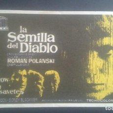 Cine: LA SEMILLA DEL DIABLO. POLANSKI. PROGRAMA DE MANO. PUBLICIDAD SALA EDISON. 1969.. Lote 199628097