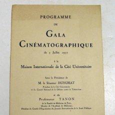 Cine: GALA CINEMATOGRAFICA. PROGRAMA. 1937. PARIS. . Lote 112890527