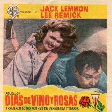 Foglietti di film di film antichi di cinema: DIAS DE VINO Y ROSAS, CON SELLO DE CINE. Lote 112911283