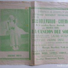 Cine: LA CANCIÓN DEL SOL. LAURI VOLPI. SENCILLO CON PUBLICIDAD. AÑO 1934 (23,5 X 18 CM.). Lote 112983775