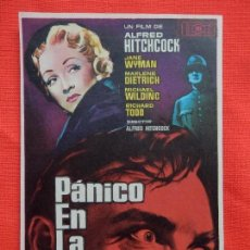 Cine: PANICO EN LA ESCENA, IMPECABLE SENCILLO, JANE WYNMAN MARLENE DIETRICH, C/PUBLI TERRAZA OLONT. Lote 112996607