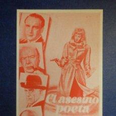 Cine: FOLLETO DE MANO - PELÍCULA DE CINE - EL ASESINO POETA. GEORGE SANDERS. LUCILLE BALL. Lote 113733231
