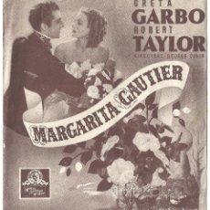 Cine: MARGARITA GAUTIER PROGRAMA DOBLE MGM GRETA GARBO ROBERT TAYLOR. Lote 113836239