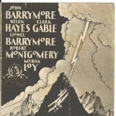 Cine: D VUELO NOCTURNO PROGRAMA TARJETA MGM CLARK GABLE LOY HELEN HAYES JOHN LIONEL BARRYMORE. Lote 113837639