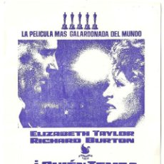 Cine: QUIEN TEME A VIRGINIA WOOLF PROGRAMA SENCILLO INTERPENINSULAR RICHARD BURTON ELIZABETH TAYLOR. Lote 113840939