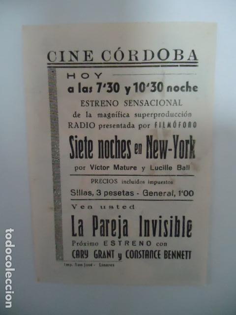 Cine: SIETE NOCHES EN NEW YORK- CINE CORDOBA - LINARES - JAEN - IMP. SAN JOSE LINARES - Foto 2 - 127739328