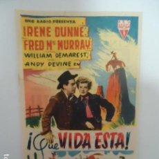 Cine: ¡QUE VIDA ESTA - CINE CORDOBA- LINARES - JAEN - IMP. SAN JOSE LINARES 1954. Lote 127759882