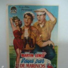 Cine: VAYA PAR DE MARINOS- CINE CORDOBA- LINARES - JAEN - IMP.SAN JOSE LINARES 1954. Lote 127120198