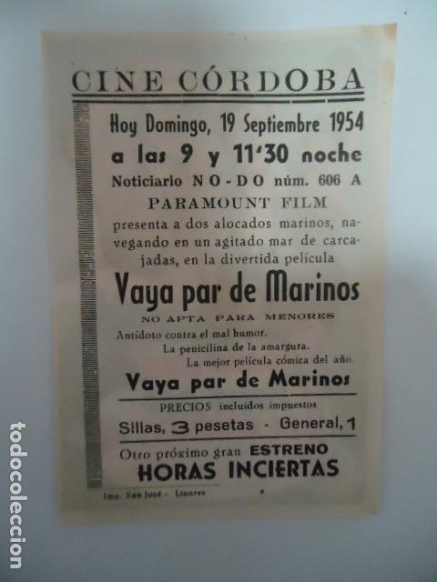 Cine: VAYA PAR DE MARINOS- CINE CORDOBA- LINARES - JAEN - IMP.SAN JOSE LINARES 1954 - Foto 2 - 127120198