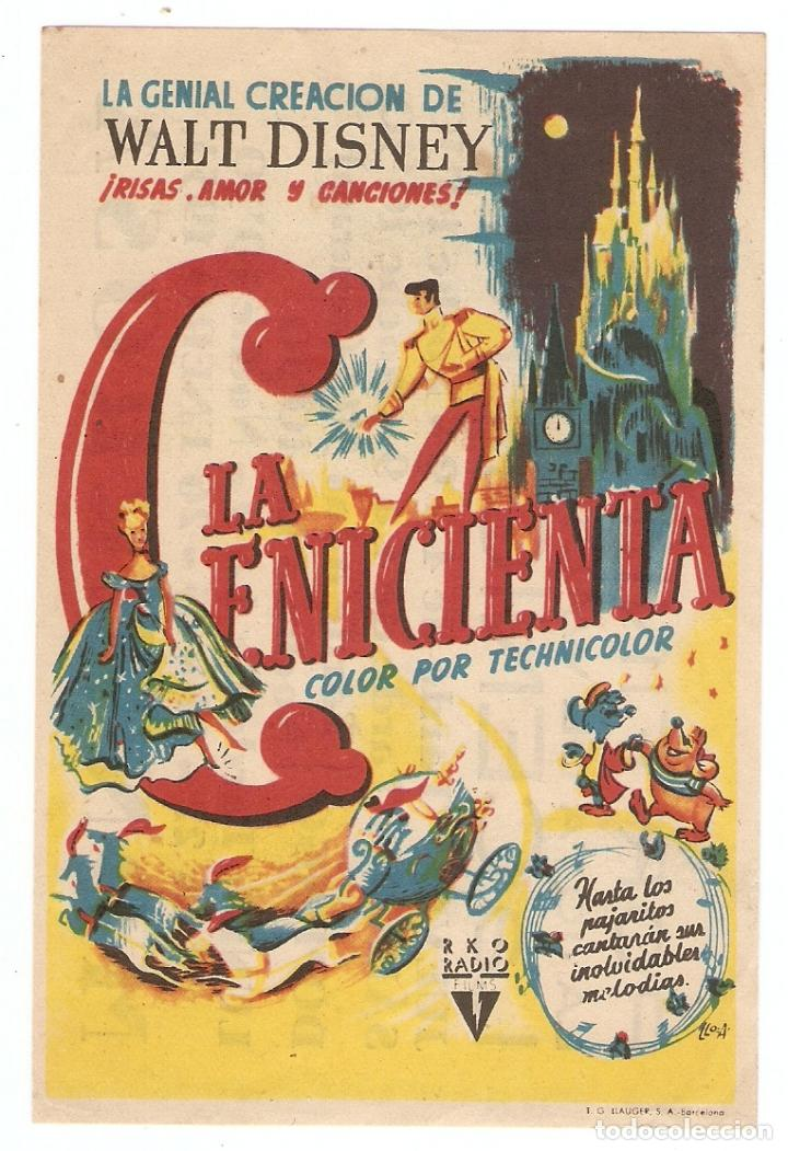 LA CENICIENTA - WALT DISNEY - RKO RADIO FILMS (Cine - Folletos de Mano - Infantil)