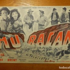 Cine: FOLLETO DE MANO - DOBLE - HURACAN - EUTERPE - 2 DE MARZO DE 1950 -. Lote 114171471
