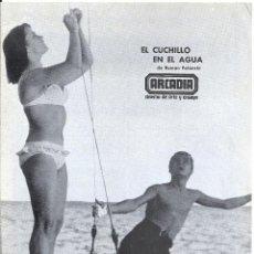 Cine: EL CUCHILLO EN EL AGUA KNIFE IN THE WATER PROGRAMA DOBLE LOCAL CINE ARCADIA ROMAN POLANSKI. Lote 114200475