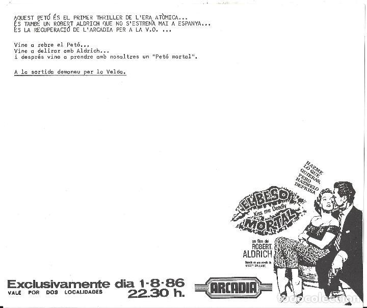 Cine: EL BESO MORTAL PROGRAMA SENCILLO CINE ARCADIA INVITACION ESTRENO ROBERT ALDRICH - Foto 2 - 114249127