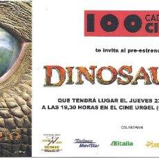 Cine: DINOSAURIO PROGRAMA SENCILLO INVITACION PREESTRENO WALT DISNEY ANIMACION. Lote 114266623