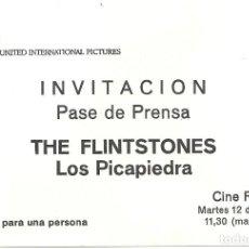 Cine: LOS PICAPIEDRA THE FLINTSTONES PROGRAMA SENCILLO UIP INVITACION ESTRENO JOHN GOODMAN. Lote 114268899